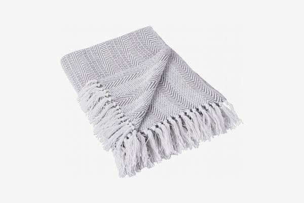 DII Rustic Farmhouse Throw Blanket Herringbone Stripe Gray