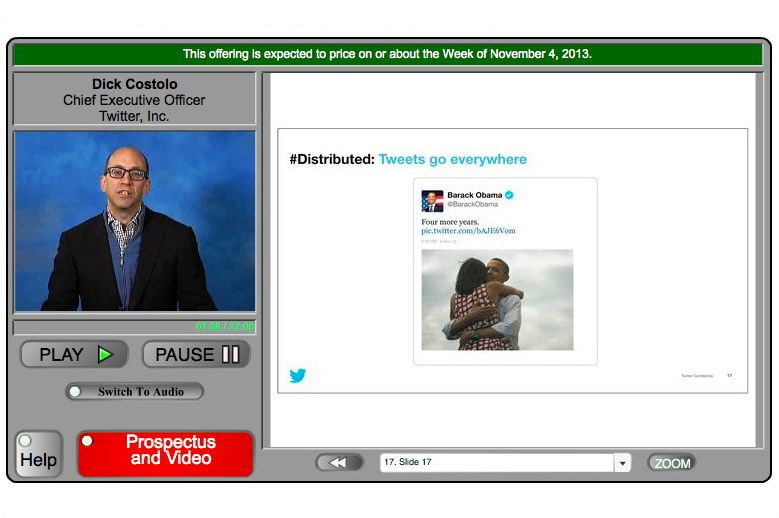 Dick Costolo, Twitter's CEO, in the roadshow video.