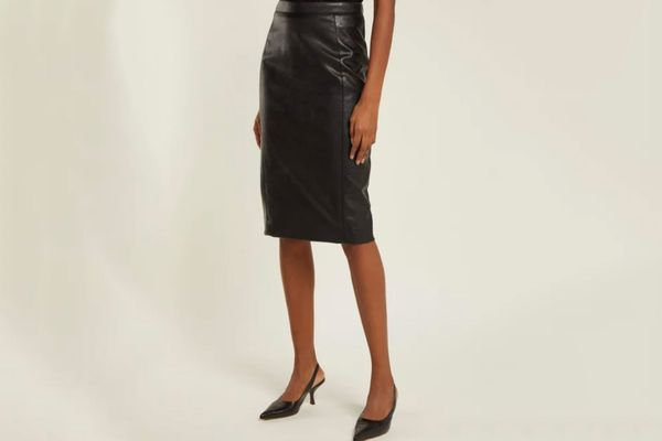 Stella McCartney Alter Faux Leather and Jersey Pencil Skirt