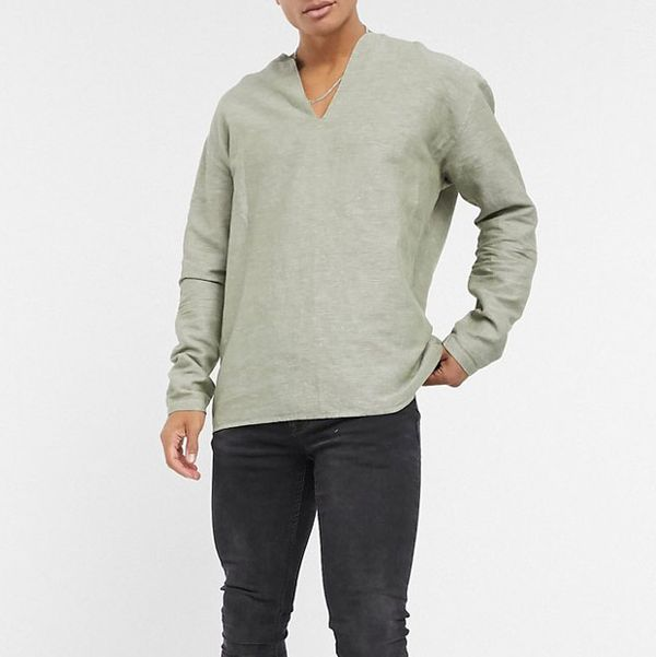 ASOS DESIGN Regular Overhead Linen Shirt