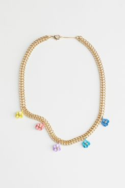 & Other Stories Mini Flower Pendant Chain Necklace