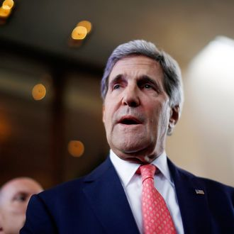 US Secretary of State John Kerry speaks to the press upon his arrival in Geneva on November 8, 2013. Iran and six world powers have not reached any deal yet that would end Tehran's decade-long standoff with the West over its nuclear program, Kerry said today. AFP PHOTO / POOL / Jason Reed (Photo credit should read JASON REED/AFP/Getty Images)