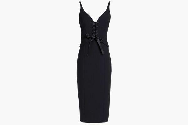 CINQ À SEPT Lace-up stretch-ponte dress
