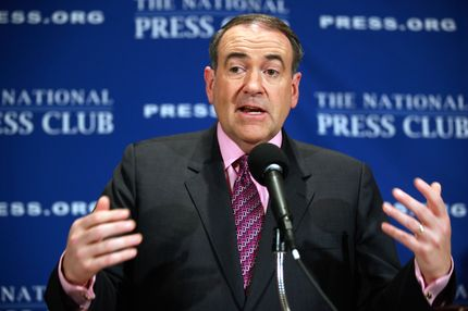 "WASHINGTON, DC - FEBRUARY 24:  Former Arkansas Governor Mike Huckabee talks about his new book, ""A Simple Government: Twelve Things We Really Need from Washington (and a Trillion that We Don't!),"" at the National Press Club February 24, 2011 in Washington, DC. The winner of the Iowa GOP caucus in 2008, Huckabee is said to be considering another run for the U.S. presidency in 2012.   (Photo by Chip Somodevilla/Getty Images)"