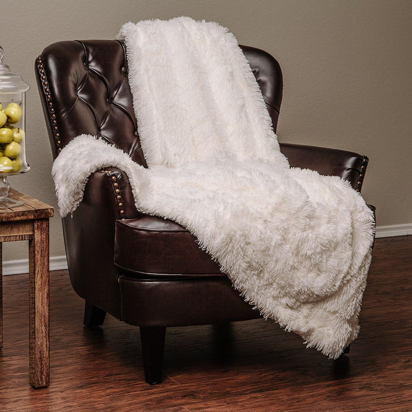 "Chanasya Sherpa Microfiber Throw Blanket (50"" x 65"") — Solid Shaggy Off White"