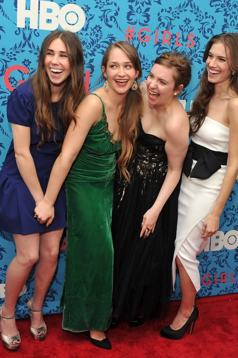 "(L-R)  Actress Zosia Mamet, actress Jemima Kirke, actress/creator/executive producer Lena Dunham, and actress Allison Williams attend the HBO with The Cinema Society host the New York premiere of HBO's ""Girls"" at the School of Visual Arts Theater on April 4, 2012 in New York City."