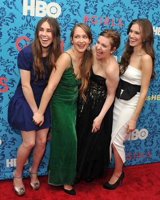 (L-R) Actress Zosia Mamet, actress Jemima Kirke, actress/creator/executive producer Lena Dunham, and actress Allison Williams attend the HBO with The Cinema Society host the New York premiere of HBO's