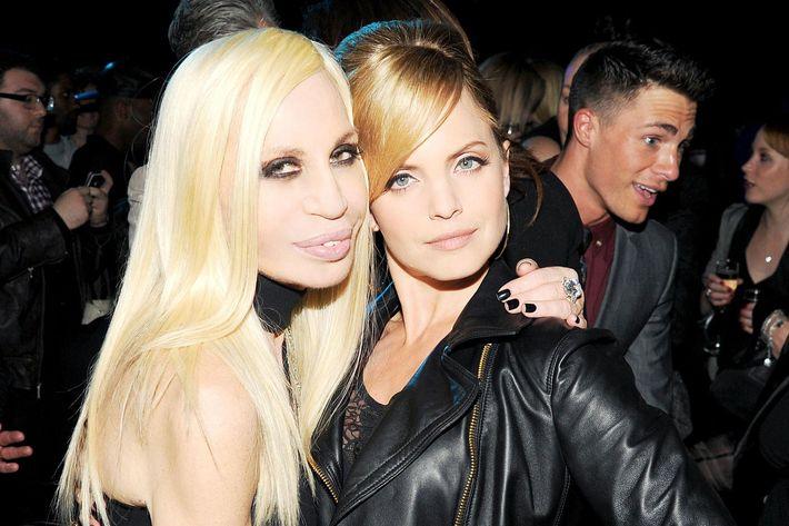 Donatella Versace and Mena Suvari.