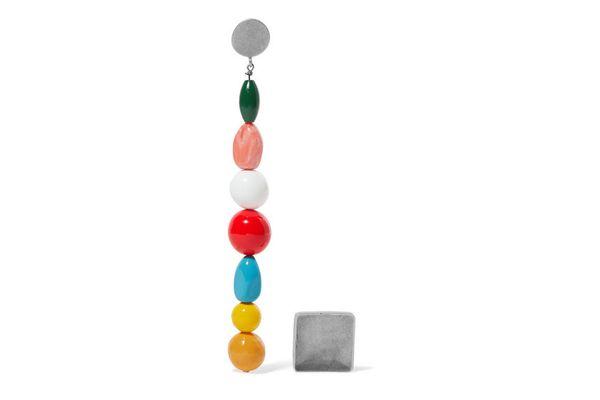 JACQUEMUS Les Perles silver-tone beaded earrings