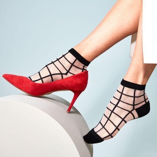 Tabio Windowpane Fit Sheer Ankle Socks