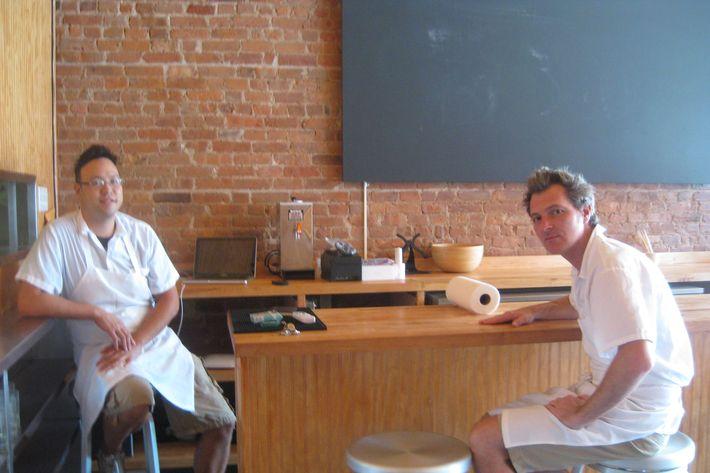 Chuko's David Koon (l) and Jamison Blankenship at their ramen counter.