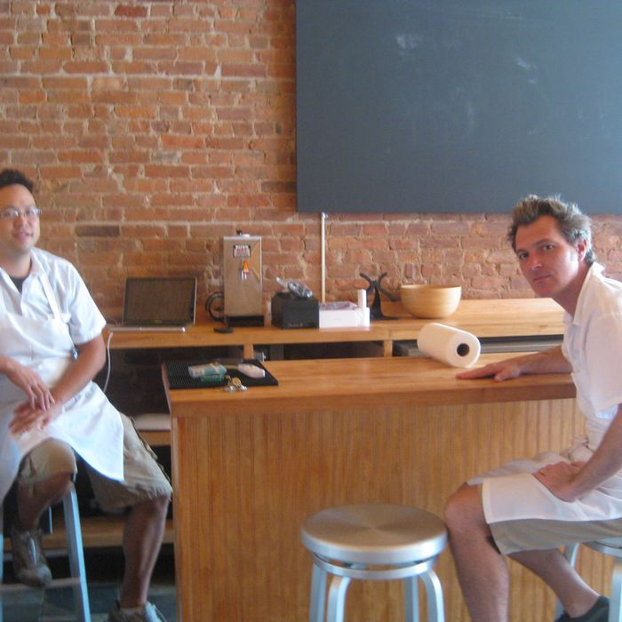Chuko's David Koon (l) and Jamison Blankenship at their ramen counter.