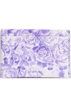 Ganni Floral-Print Leather Cardholder