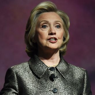 Hillary Clinton speaks at a women's equality event March 9, 2015 in New York. Two women with global clout -- Hillary Clinton and Melinda Gates -- released a sweeping report on Monday showing that women are still far from winning equality in leadership positions. The