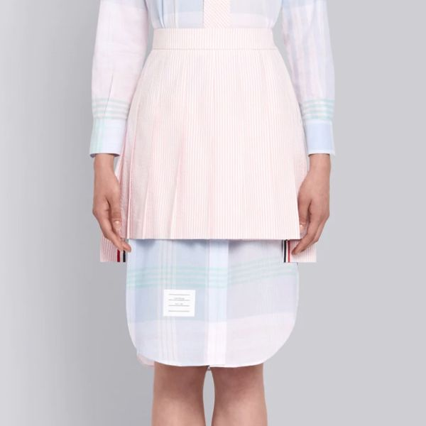 Thom Browne Light Pink Seersucker Pleated Mini Skirt
