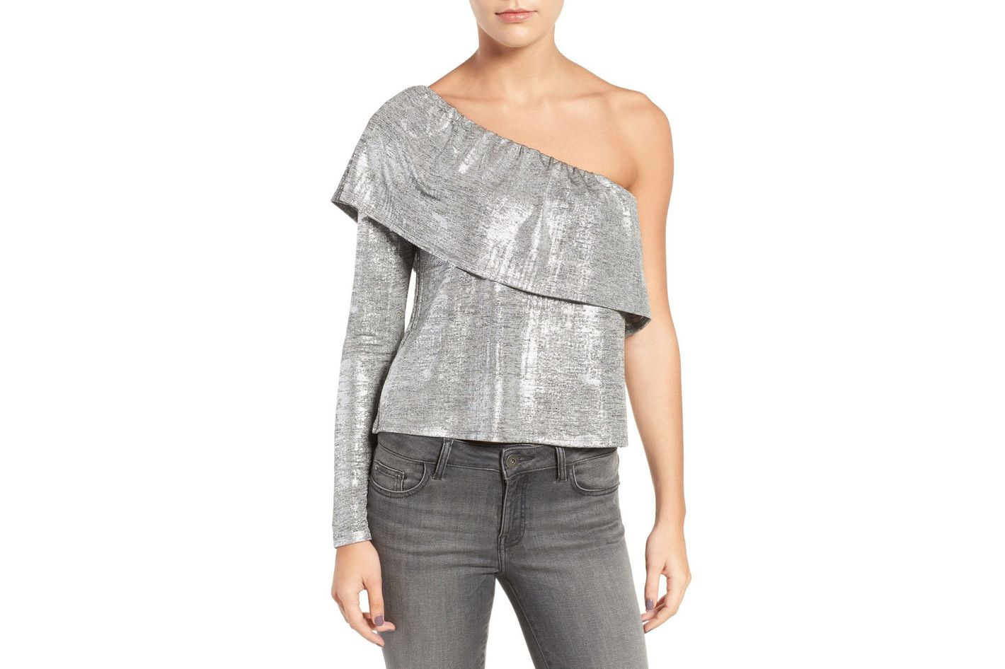 Trouvé Metallic One-Shoulder Top