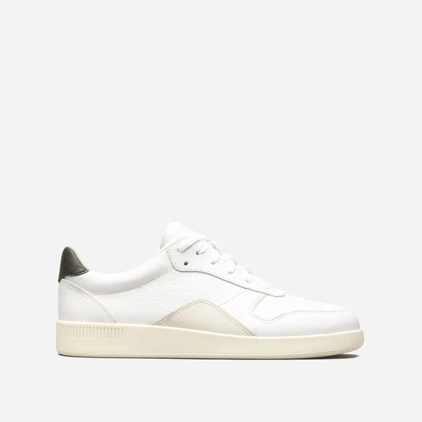Everlane Women's Court Sneaker, Off-White/Forest