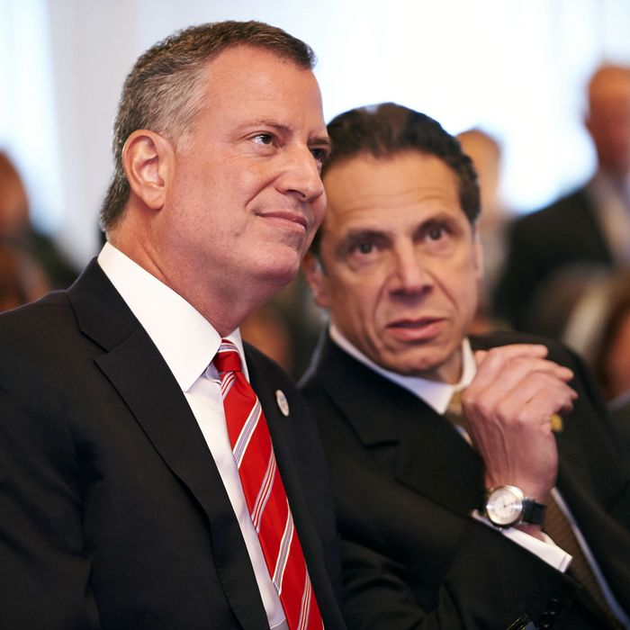 New York City Mayor Bill de Blasio, left, and New York State Governor Andrew Cuomo at a news conference for the reopening of the NYU Langone Medical Center Emergency Department on Thursday, Apr. 24, 2014 in New York, N.Y. The emergency department was closed after Hurricane Sandy struck in October 2012 and has now reopened as the Ronald O. Perelman Center for Emergency Services (Perelman Emergency Center). (Photo By: James Keivom/NY Daily News via Getty Images)