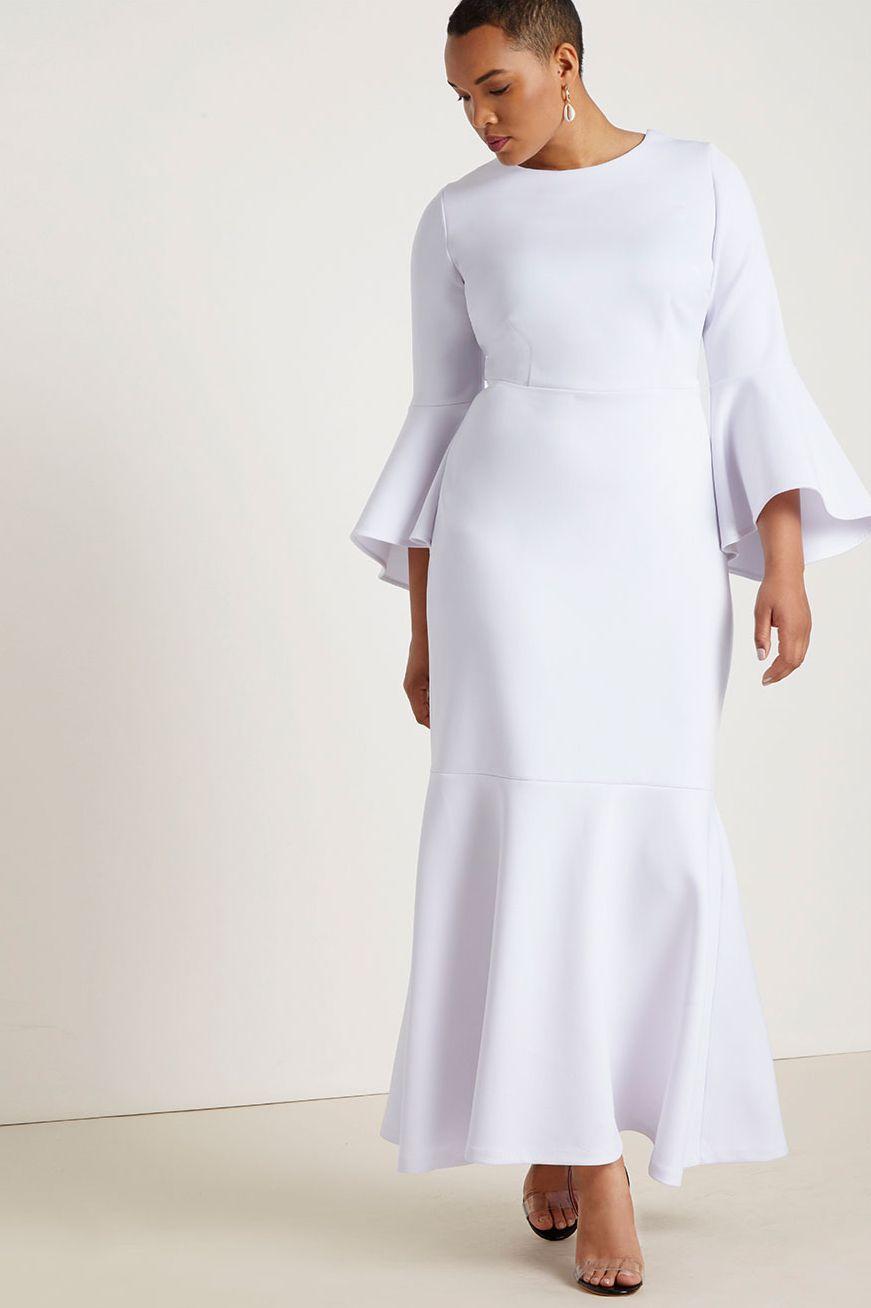 Eloquii Flare Sleeve Scuba Gown