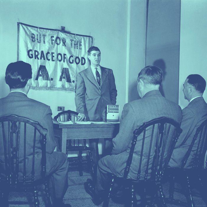 ca. 1950 --- Original caption: After three months without a drink, John finds himself an Alcoholics Anonymous crusader, helping the good work of saving others by telling of his successful fight. Photograph circa 1950. --- Image by ? Bettmann/CORBIS
