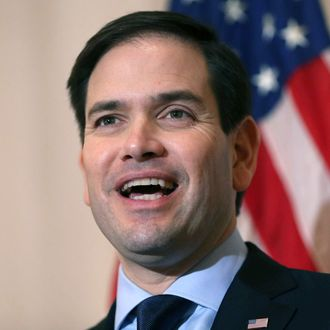 Sen. Marco Rubio (R-FL) speaks to the media during a press conference at the Temple Beth El to discuss his commitment to stand with Israel on March 11, 2016 in West Palm Beach, Florida.