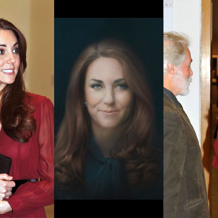 Kate reacts to her portrait.