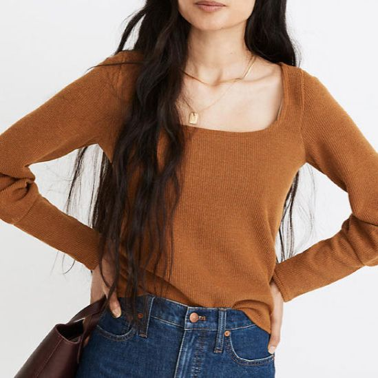 Madewell Ottoman Rib Square-Neck Top