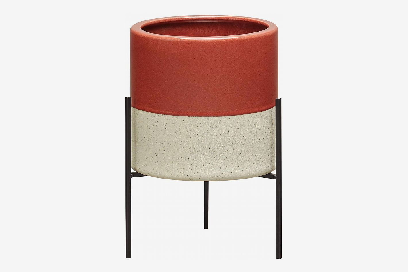 Rivet Mid-Century Ceramic Planter with Iron Stand