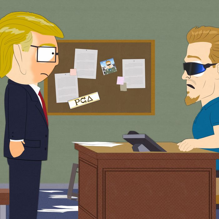 Trey Parker as President-Elect Garrison.