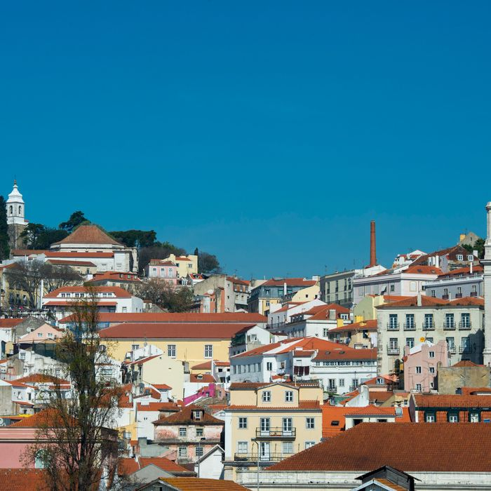 View from the Tagus River of Lisbon, the capital city of Portugal with the old city Alfama.