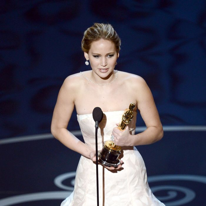 HOLLYWOOD, CA - FEBRUARY 24: Actress Jennifer Lawrence accepts the Best Actress award for