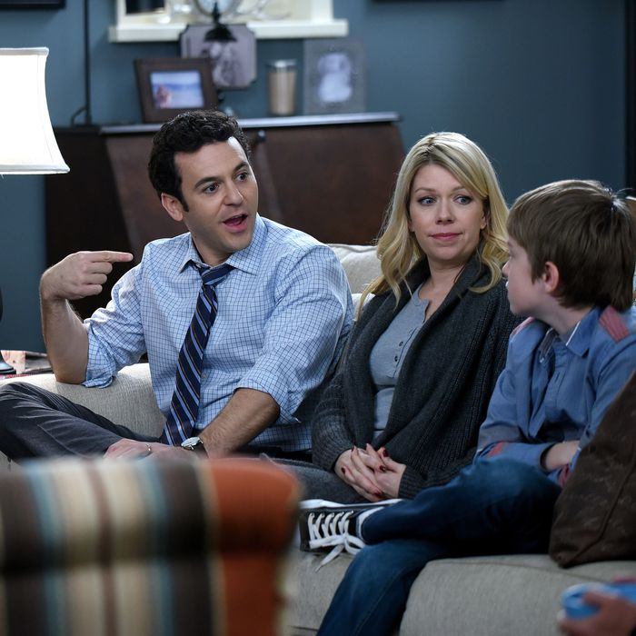 THE GRINDER: L-R: Fred Savage, Mary Elizabeth Ellis and Connor Kalopsis in the