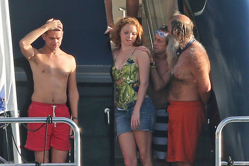 Lily Cole on holiday with Twitter founder Jack Dorsey on a yacht in St Barths.<P>Pictured: Lily Cole and Jack Dorsey<P><B>Ref: SPL476716  010113  </B><BR/>Picture by: Ryan Turgeon / Splash News<BR/></P><P><B>Splash News and Pictures</B><BR/>Los Angeles:	310-821-2666<BR/>New York:	212-619-2666<BR/>London:	870-934-2666<BR/>photodesk@splashnews.com<BR/></P>