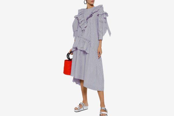 Simone Rocha Asymmetric Ruffled Striped Cotton-poplin Midi Dress