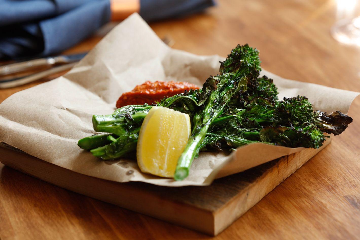 Grilled broccoli rabe with romesco. Photo: Melissa Hom