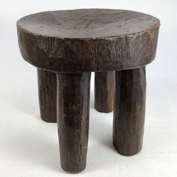 Vintage African Round Wood Stool
