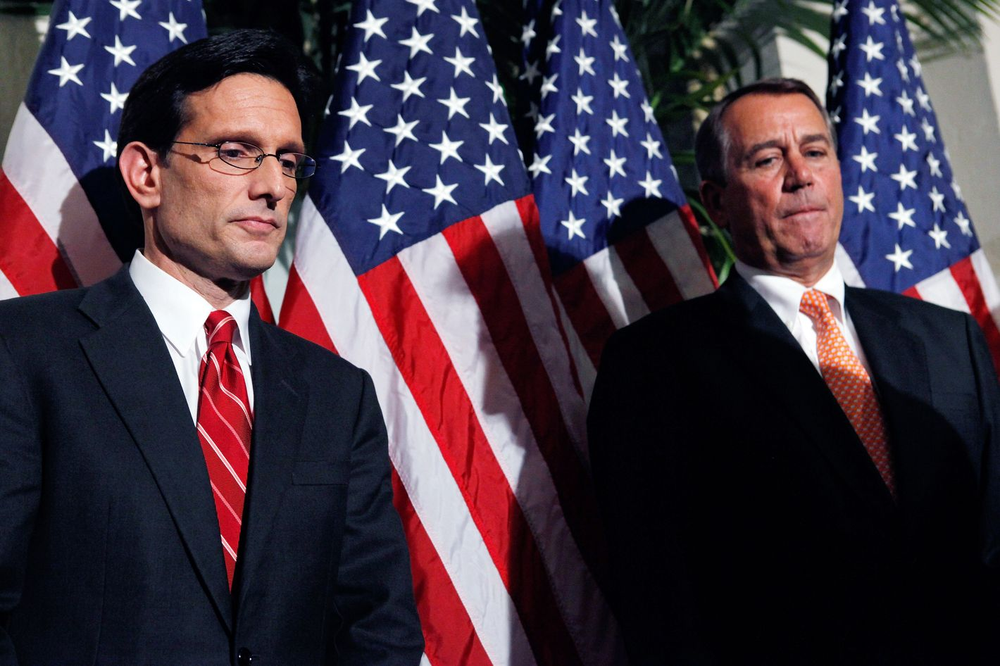 Speaker of the House John Boehner (R-OH) (R) and Majority Leader Eric Cantor (R-VA) hold a brief news conference on December 19, 2011 in Washington, DC.