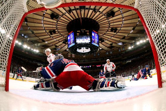 NEW YORK, NY - MAY 07:  Henrik Lundqvist #30 of the New York Rangers tends goal against the Washington Capitals in Game Five of the Eastern Conference Semifinals during the 2012 NHL Stanley Cup Playoffs at Madison Square Garden on May 7, 2012 in New York City.  (Photo by Bruce Bennett/Getty Images) *** Local Caption *** Henrik Lundqvist