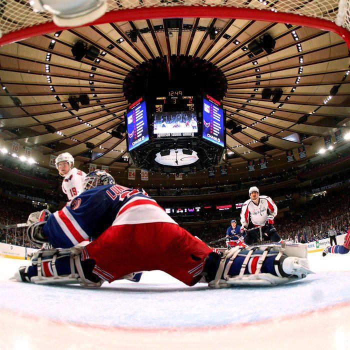 Henrik Lundqvist #30 of the New York Rangers tends goal against the Washington Capitals