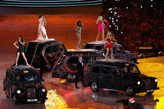Melanie Chisholm, Victoria Beckham, Melanie Brown, Emma Bunton and Geri Halliwell of the Spice Girls performs during the Closing Ceremony on Day 16 of the London 2012 Olympic Games at Olympic Stadium on August 12, 2012 in London, England.