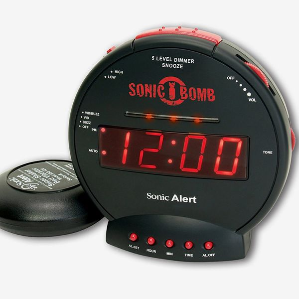 Sonic Alert Sonic Bomb Extra-Loud Dual Alarm Clock with Red Flashing Alert Lights and a Powerful Bed Shaker