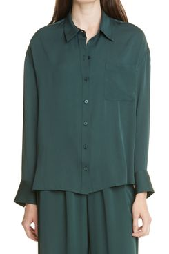 Nordstrom Signature Relaxed Stretch Silk Shirt