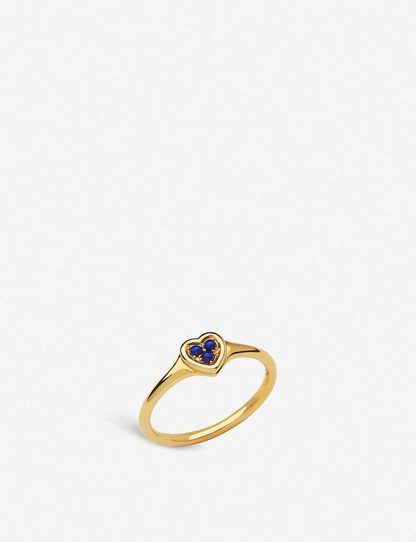 Links of London Open Heart 18ct Yellow-gold Vermeil and Lapis Lazuli Ring