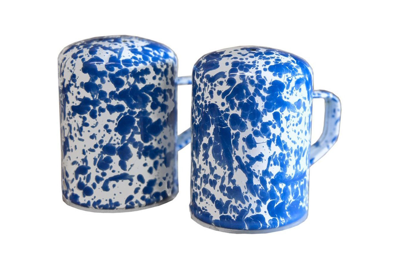 Enamelware Salt & Pepper Shakers — Blue Marble