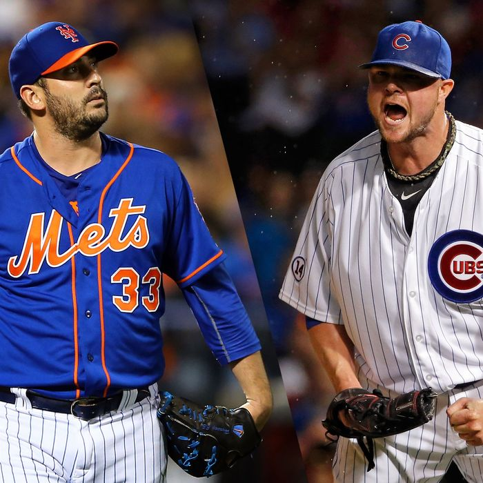 Matt Harvey of the Mets and Jon Lester of the Cubs