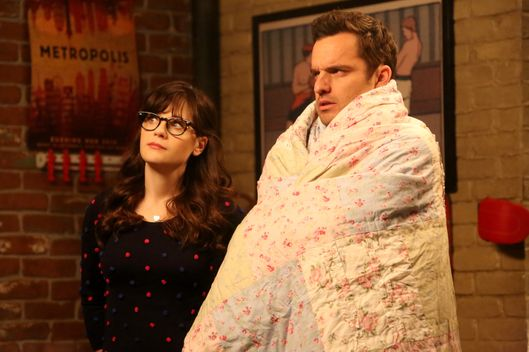 "NEW GIRL: L-R: Zooey Deschanel and Jake Johnson in the ""Sam Again"" episode of NEW GIRL airing Tuesday, March 29 (8:00-8:30 PM ET/PT) on FOX. ©2016 Fox Broadcasting Co. Cr: Patrick McElhenney/FOX"