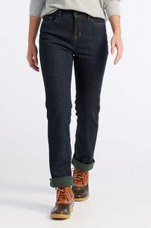 L.L.Bean Women's True Shape Jeans, Classic Fit, Straight-Leg, Fleece-Lined