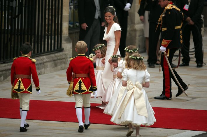 Pippa Middleton and children at Kate Middleton's wedding to Prince William.