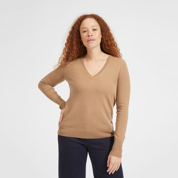 Everlane Cashmere V-Neck in Camel