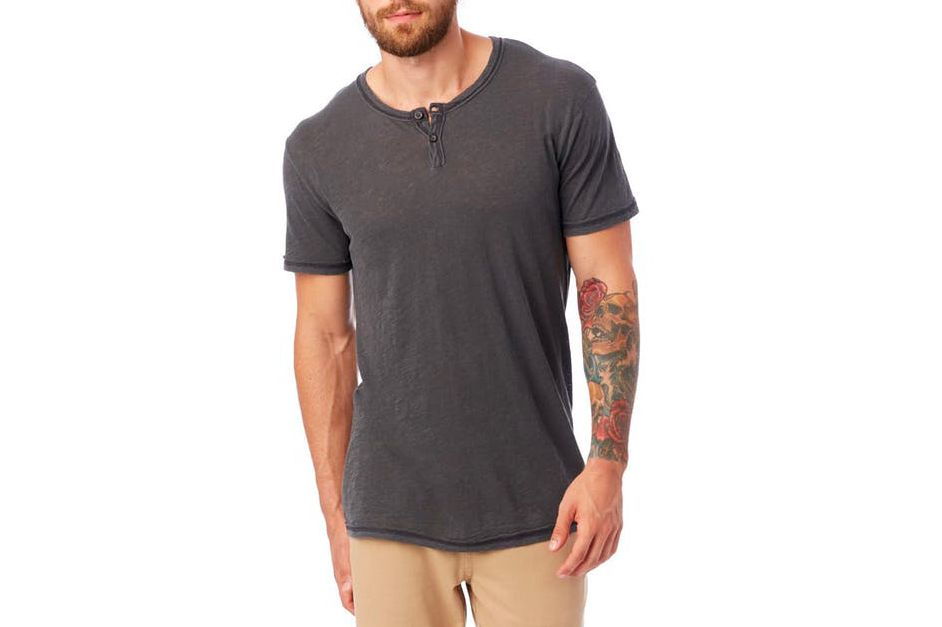 Alternative Apparel Home Team Garment Dyed Slub Henley Shirt